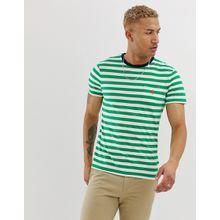 Polo Ralph Lauren - Gestreiftes T-Shirt mit Tasche, Polospieler-Logo und Kontrastkragen in Grün/Weiß - Grün