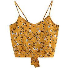 KEERADS T-Shirt Damen Sommer Bauchfrei Trägerlos V-Ausschnitt Streifen Crop Tops Oberteile Bluse (M, Gelb)