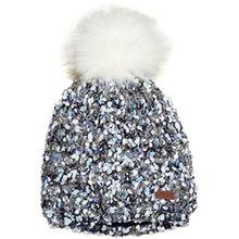 maximo Mädchen Mütze mit Pompon, Blau (Jeansmeliert 63), 55/57