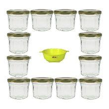 Viva Haushaltswaren 12 Marmeladengläser 240 ml mit gold-farbenem Deckel in Facetten-Optik inklusive einem gelben Einfülltrichter