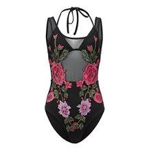 Damen Badeanzug aus schwarzem Mesh und mit Blumen Stickerei – Gr. XL
