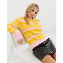 Pieces - Gestreifter und gerippter Pullover - Gelb