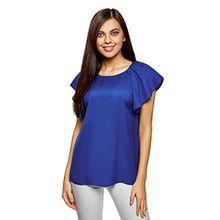 oodji Ultra Damen Viskose-Bluse mit Flügelärmeln, Blau, DE 36/EU 38/S