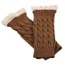 Bluelans® Armstulpen Pulswärmer lang fingerlos Handschuhe Damenhandschuhe Winterhandschuhe Fäustlinge Fausthandschuhe (Khaki)