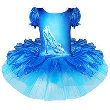 iEFiEL Kinder Mädchen Prinzessin Kostüm Ballett Kleid Cosplay Tanzkleid Tüllrock (110-116, Blau)