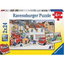 2er Set Puzzle, je 24 Teile, 26x18 cm, Bei der Feuerwehr