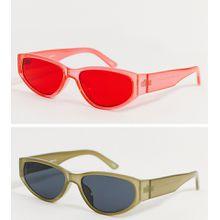 ASOS DESIGN – Rave – 2er-Pack ovale Sonnenbrillen in Kristallkhaki mit getönten Gläsern und Kristallrot-Mehrfarbig