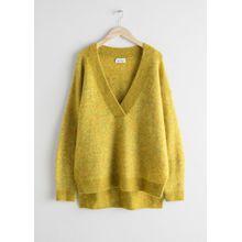 Oversized Wool Blend Sweater - Yellow