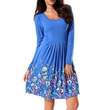 Flying Damen Herbst Kleider Langarm Kleid Strandkleid Mini A-Linie Kleider T-shirt kleid Positionierung Druck Taille Knielang Kleid Casual Langärmelige Kleid (Large, Blau)