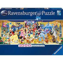 Puzzle 1000 Teile, 98x37 cm, Panorama, Disney Gruppenfoto