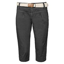 Fresh Made Damen Capri im Chino Design mit Flecht-Gürtel | Elegante kurze Hose ideal für den Sommer dark-grey XS