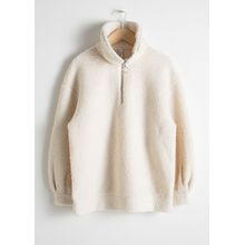 Faux Shearling Zip Pullover - White