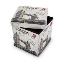 """Faltbarer Sitz-Hocker """"London"""", Kunstleder, 38x38 cm anthrazit"""