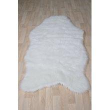 Fell Teppich Schaffell Lammfell Imitat Kunstfell Dekofell MIA bei 30 Grad waschbar aus 100% Polyester (080 x 150 cm Fell, weiss 000)