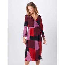 VERO MODA Kleid VMMOLLY WRAP 7/8 CALF DRESS Kleider rot Damen