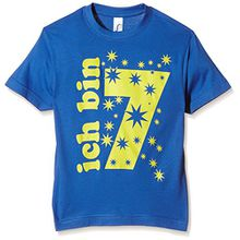 Coole-Fun-T-Shirts Jungen T-Shirt Ich Bin 7 Jahre!, Gr. One Size (Herstellergröße: 140cm/7 Jahre), Blau (Blau-Gelb)