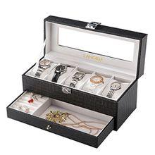 LANGRIA Doppelte Uhren und Brillen 5 Aufbewahrungsbox mit deckel abschließbar Uhrenbox Uhrenkoffer Uhrenkasten, beige weiß