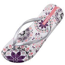 Hotmarzz Damen Zehentrenner Böhmen Blumen Sommer Sandalen Flip Flops Badeschuhe Size 40 EU/41 CN, Silber