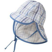 Baby Sonnenhut mit Nackenschutz zum Binden mit UV-Schutz 50+  blau Jungen Baby