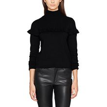 VERO MODA Damen Pullover Vmamador LS Highneck Blouse V, Schwarz (Black Beauty Black Beauty), 38 (Herstellergröße: M)