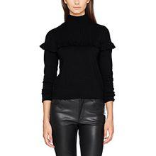 VERO MODA Damen Pullover Vmamador LS Highneck Blouse V, Schwarz (Black Beauty Black Beauty), 38 (Herstellergröße: M)