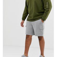 ASOS DESIGN Plus – Kalkgraue Jersey-Shorts mit Cargo-Taschen
