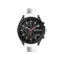 Chronograph aus schwarz beschichtetem Edelstahl mit weißem Logo-Armband