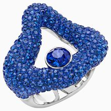 Tigris Offener Ring, blau, palladiniert