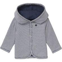 Baby Strickjacke, Organic Cotton blau/weiß Jungen Kinder