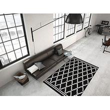 Kayoom RAUTEN MUSTER TEPPICH MODERN SCHWARZ ELFENBEIN 3D EFFEKT TEPPICHE NEU SALE, Größe:80cm x 300cm