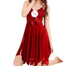 Damen Dessous,Binggong Mode Frauen Nette Sexy Sling Bogen Uniformen Versuchung Unterwäsche Nachthemd Transparentes Kleid aus Spitze (Sexy Rot, L)
