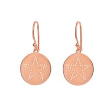 Ohrringe Disc STAR, 18 K Rosegold vergoldet