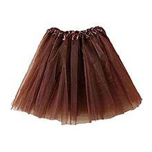 Damen Tütü Tutu Minirock Petticoat Tanzkleid Ballettrock Pettiskirt Unterrock, Mutter, Kaffee-Farbe