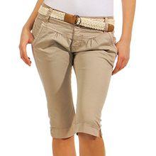 Fresh Made Damen Capri Chino Shorts LFM-134 3/4 Hose inkl. geflochtenem Gürtel light beige XL
