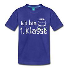 Spreadshirt Einschulung Ich Bin 1. Klasse Dino Kinder Premium T-Shirt, 122/128 (6 Jahre), Königsblau