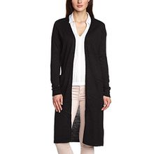 Vila CLOTHES Damen Strickjacke RIVA LONG KNIT CARDIGAN, Einfarbig, Gr. 36 (Herstellergröße: S), Schwarz (Black C-N10)