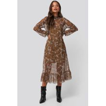 NA-KD Trend Smock Neck Printed Mesh Dress - Brown