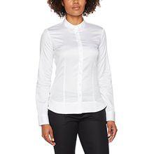 eterna Damen Bluse Slim Fit Langarm Weiß Uni mit Bubi-Kragen, Weiß (Weiß 00), 36