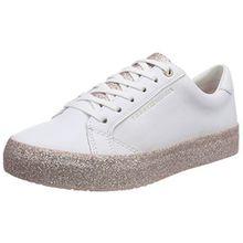 Tommy Hilfiger Damen Sparkle Outsole Glitter Sneaker, Weiß (White-Pink 100), 38 EU