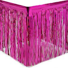 Yalulu 2 Stück Dressing Tischrock Tisch Gold Silber Lametta Vorhänge Tisch Roecke Fadenvorhang Glittervorhang Party Hochzeit Dekoration Deko (Rosa)
