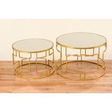 2-tlg. Beistelltisch Set mit Glasflächen Ø58-70 cm gold