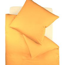fleuresse Bettwäsche colours Satin Uni 9100-2046, Mako Satin in 155x220 cm, Farbe Gold, 100% Baumwolle, mit Reißverschluss