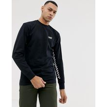 Vans - Langärmliges Shirt mit Kontrastband mit Schachbrettmuster in Schwarz - Schwarz