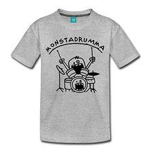 Spreadshirt Monster Drummer Kinder Premium T-Shirt, 122/128 (6 Jahre), Grau meliert