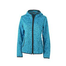 James & Nicholson Damen Sweatshirt Fleece Ladies'Knitted Hoody blau (Blue-Melange/Black) Small