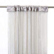 VICTORIA M Leonora Vorhang - Fadenvorhang 100 x 245cm, hellgrau, 2er Pack