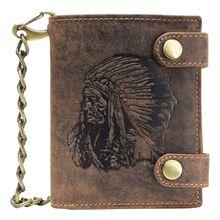 Greenburry Vintage Indian Geldbörse Leder 10 cm braun Herren