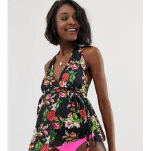 ASOS DESIGN Umstandsmode – Hüft-Bikinihose in Neonrosa-Mehrfarbig