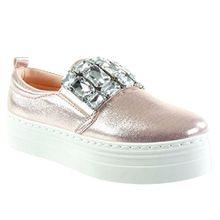 Angkorly Damen Schuhe Sneaker - Plateauschuhe - Schmuck - Strass - Glänzende Flache Ferse 4 cm - Rosa HX-005 T 38