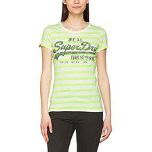 Superdry Damen T-Shirt Vintage Logo Stripe, Mehrfarbig (Lime Stripe), Gr. 44 (Herstellergröße: X-Large)